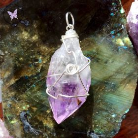 Natural Amethyst Point Silver Wire Wrapped Pendant 02
